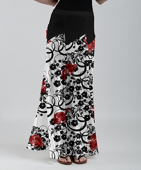 081ab62295 love this product White & Red Floral Side-Slit Maxi Skirt - Women
