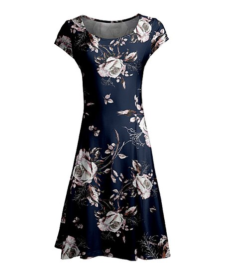 Love This Product Blue Gray Fl Cap Sleeve Dress Women Plus