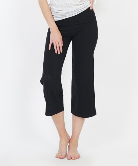 f40bd1fb2e60 love this product Black Fold-Over Capri Yoga Pants - Women
