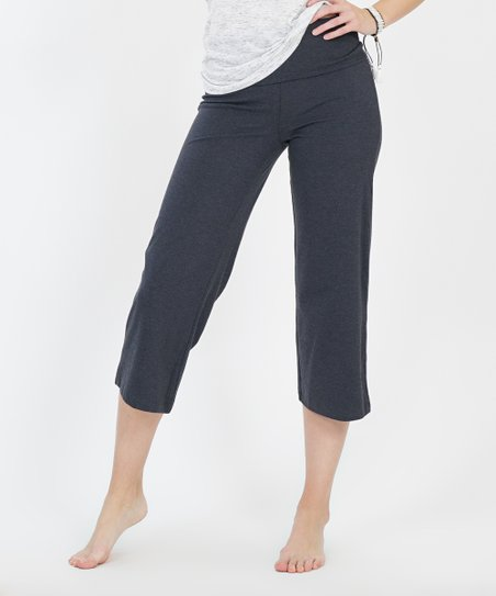 687ba142a0ba love this product Charcoal Fold-Over Capri Yoga Pants - Women