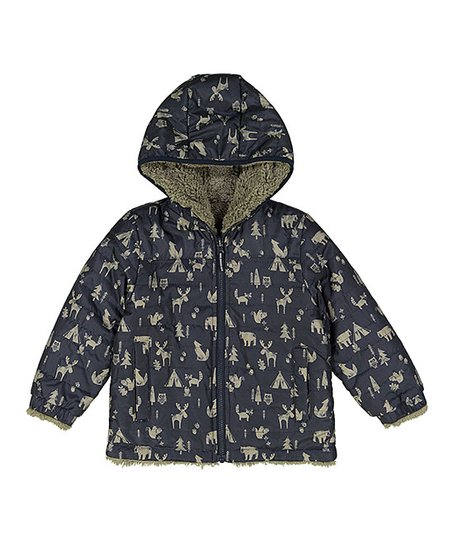 29dc00504159 London Fog Navy Reversible Mid-Weight Hooded Jacket - Infant ...
