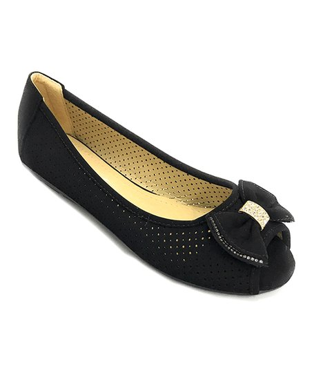 b624f16cfbc0 love this product Black Bow-Accent Peep-Toe Ballet Flat - Women