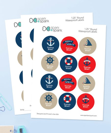 Love This Product Sail Away Waterproof Personalized Round Labels