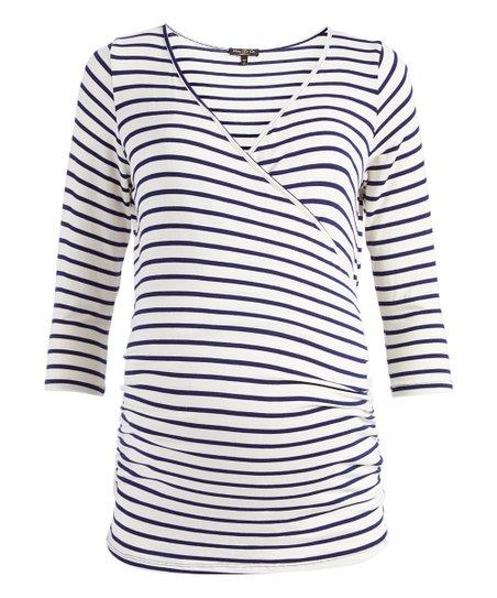 c46098ec4d love this product Ivory   Navy Stripe Maternity Nursing Surplice Top