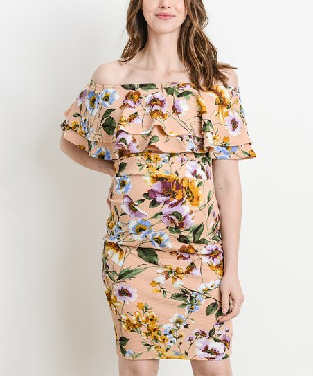 9705db5a3230 love this product Peach Floral Ruffle-Accent Off-Shoulder Maternity Dress