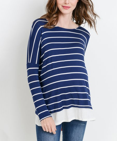 3e5b13913c love this product Navy   Ivory Stripe Nursing Maternity Long-Sleeve Top