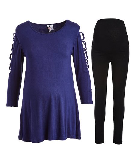8f9a985bd5d45 love this product Navy Cross-Strap Maternity Tunic & Black High-Waist  Leggings