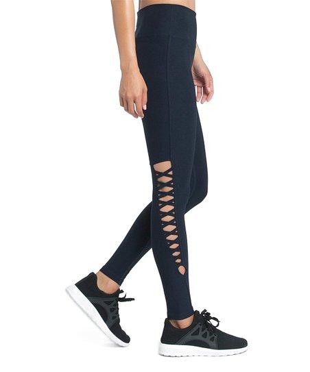 Marika Black Josie Lattice Cutout High-Waist Leggings - Women  5ec2bd83c49