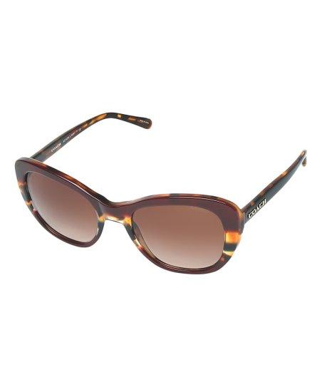9118900805 Coach Aubergine   Navy Tortoise Varsity Stripe Rectangle Sunglasses ...