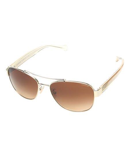 db4022d2ee Light Gold   Crystal Light Brown Double-Bridge Aviator Sunglasses