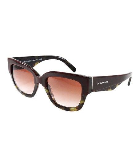 234dfa5e8f0 Burberry Bordeaux   Green Havana Insignia Cat-Eye Sunglasses