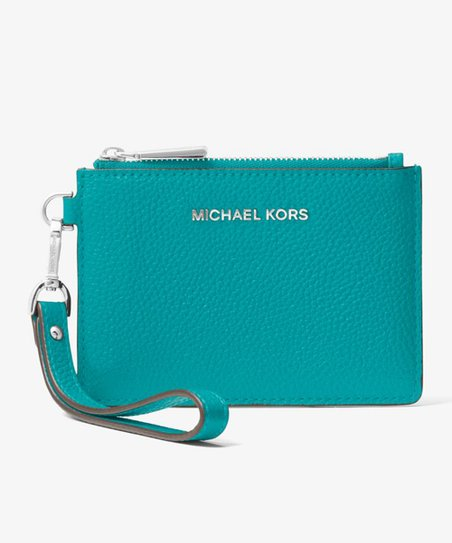 8169b0011ae855 Michael Kors Tile Blue Mercer Pebbled Leather Coin Purse | Zulily