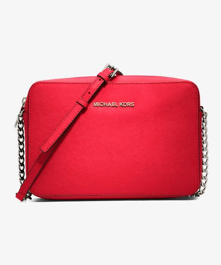 042023736a79 Michael Kors Bright Red Jet Set Travel East West Large Leather ...