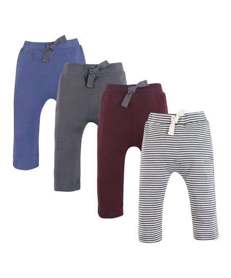 1c57e497 Luvable Friends Charcoal & Burgundy Organic Cotton Harm Pants Set ...