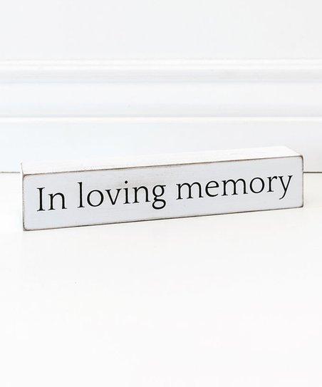 Adams & Co  'In Loving Memory' Wood Sign