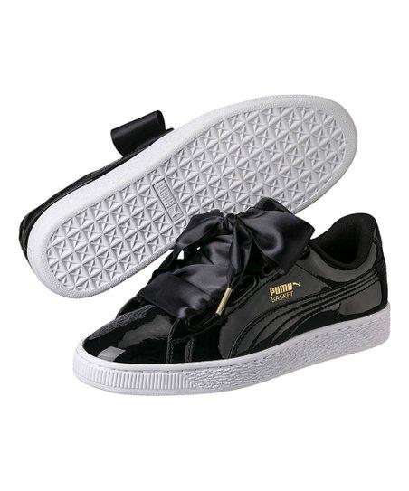 PUMA Black Patent Basket Heart Ribbon-Lace Sneaker - Women  c51c914b2