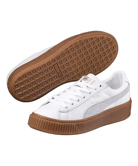meet 12427 4b969 PUMA White Rose Gold Basket Platform Euphoria Gum - Women