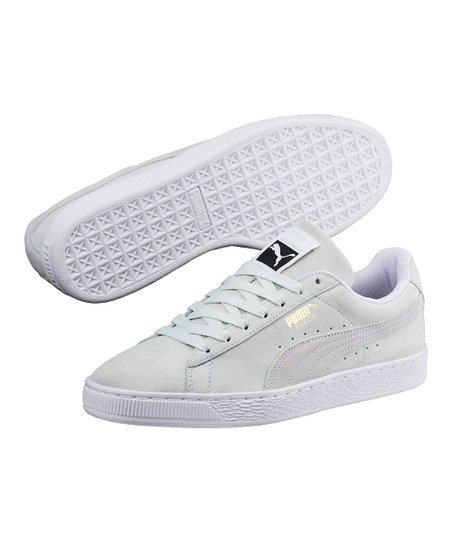 PUMA Blue Flower   White Classic Suede Sneaker - Men  b42ae8b10