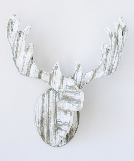 Distressed White Deer Head Décor