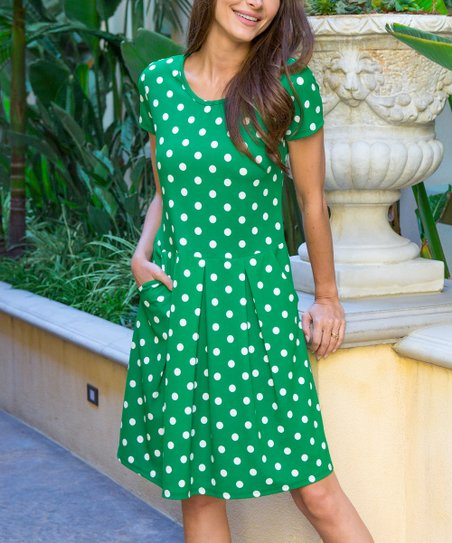 31e50456ce love this product Green   White Polka Dot Pleat-Front Side-Pocket A-Line  Dress - Women