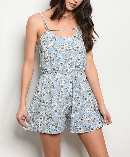 8f4725e5e174 love this product Blue   Ivory Floral Sleeveless Romper - Women
