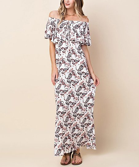 34d0a1dee5f love this product White & Black Paisley Ruffle-Top Off-Shoulder Maxi Dress  - Women