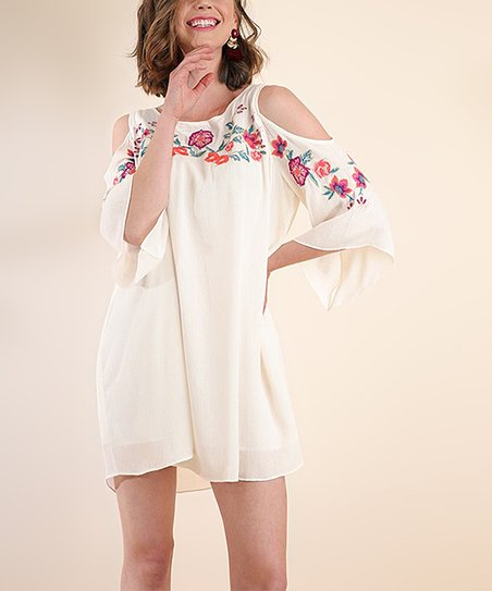 8e1078eccdec love this product Natural Floral Embroidery Cutout Dress - Women