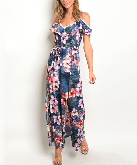 e25e6bc4ab7 love this product Navy Floral Cold-Shoulder Maxi Dress - Women