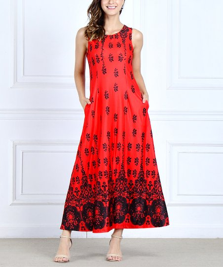 791da439f75 love this product Red   Black Floral Border Side-Pocket Maxi Dress