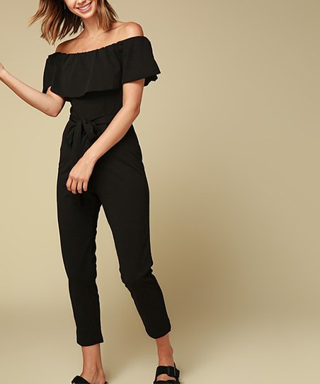 f15ccd25adf love this product Black Ruffle Cropped Off-Shoulder Jumpsuit - Women