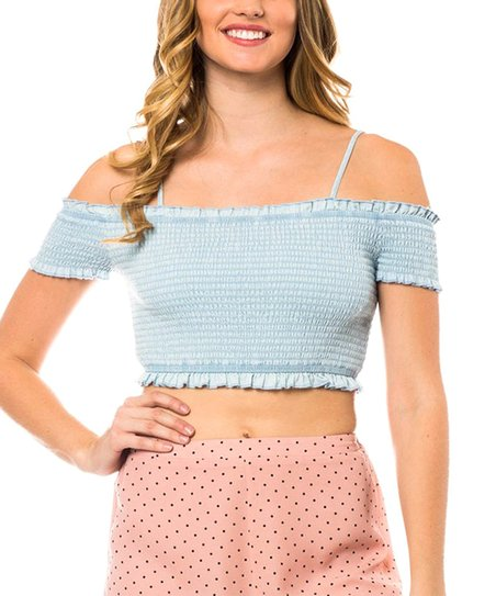 07961248a0128 SBS Fashion Light Blue Off-Shoulder Crop Top - Women