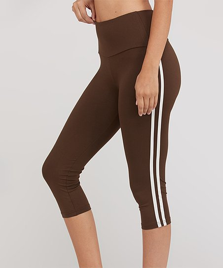3306ce198c51 love this product Brown Side-Stripe Capri Leggings - Women