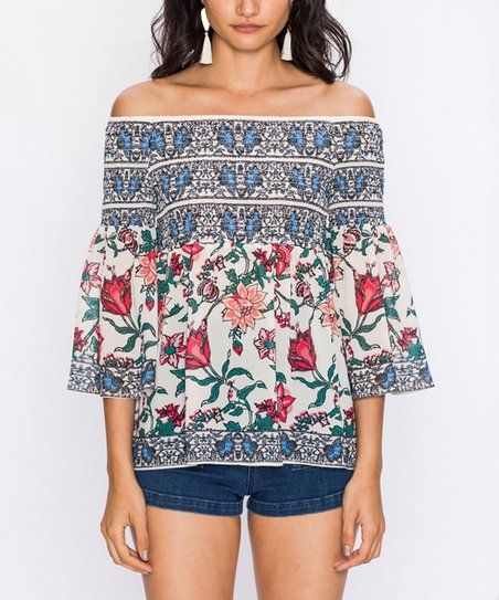 3c147ec0b5bb2 love this product Ivory   Blue Floral Bell-Sleeve Off-Shoulder Top - Women