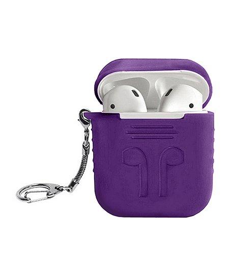 huge sale 8a098 d3a18 Tech Zebra Purple Silicone AirPod Carry Case Key Chain
