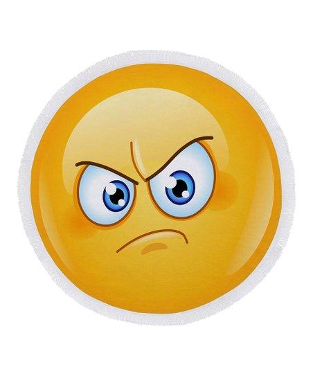 Ann Ross Angry Emoji Round Beach Towel