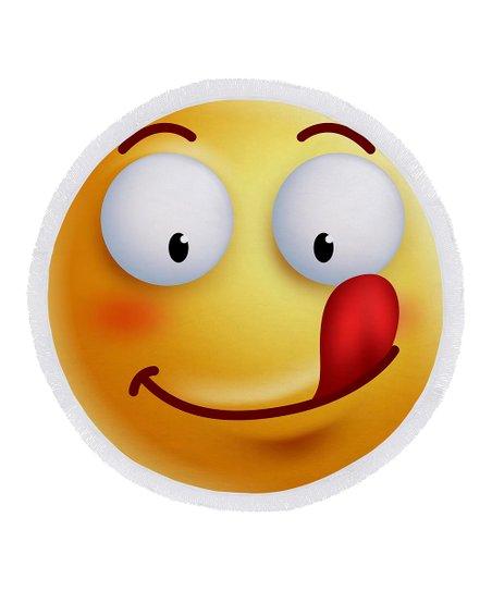 Ann Ross Tongue Out Emoji Round Beach Towel