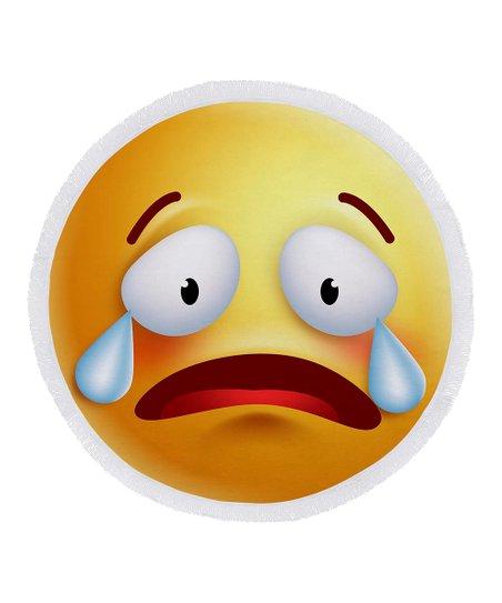 Ann Ross Crying Emoji Round Beach Towel