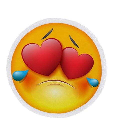 Ann Ross Crying Emoji Love Round Beach Towel