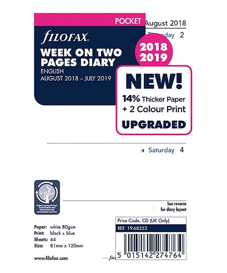 Filofax Week-to-View Aug 2018 - July 2019 Academic Calendar Refill