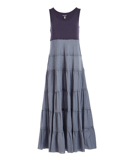 Chelsea Theodore Coastal Blue Navy Color Block Tiered Maxi Dress