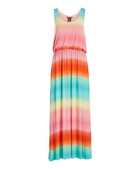 Chelsea Theodore Pink Blue Stripe Racerback Maxi Dress Women