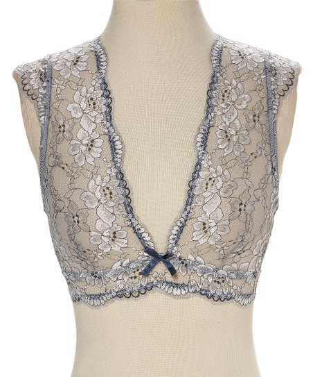 ac6295278f6 love this product Moonlight Blue Crossdye Floral Cutout Scallop-Trim Lace  Bralette