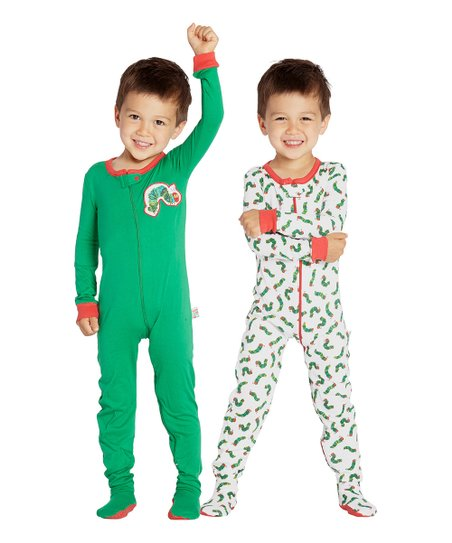 715b87247 Intimo Eric Carle Green   White Caterpillar Two-Piece Footie Pajama ...
