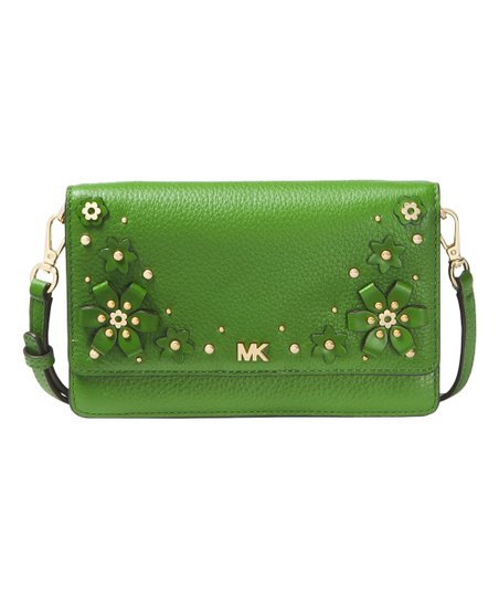 f509e057845a love this product True Green Floral Embellished Pebbled Leather Convertible  Crossbody Bag