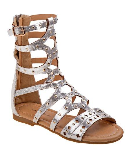 3b6ca3cd4 Nanette Lepore Girls Silver Strappy Gladiator Sandal - Girls