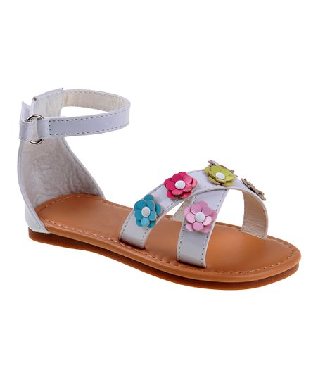 d1d56eed04e love this product White Floral Ankle-Strap Sandal - Girls