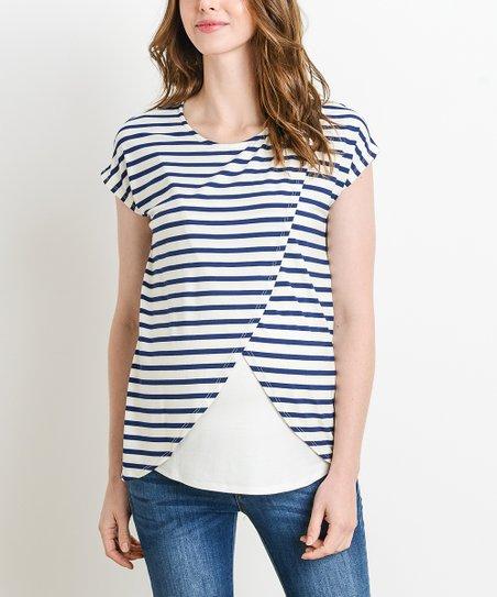 abebdfe447 Hello Miz Maternity Navy   Ivory Stripe Tulip-Layer Maternity Nusing ...