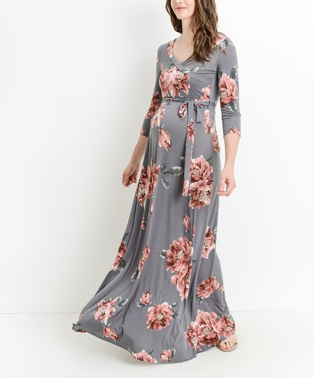 7376160c3a6 Hello Miz Maternity Gray Floral Tie-Waist Materntiy Nursing Maxi ...