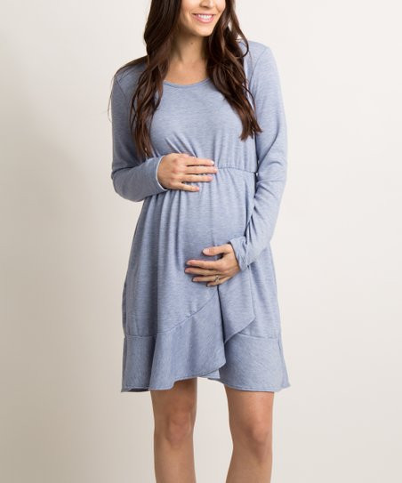 c7361d2a40033 PinkBlush Maternity Blue Ruffle Maternity Wrap Dress   Zulily