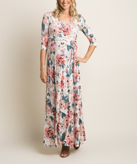 7f7a4af0d1c PinkBlush Maternity White Floral Maternity Maxi Dress